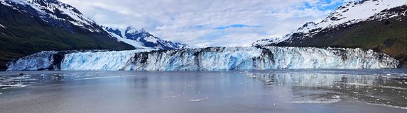 Immense Harvard Glacier. Panorama of Harvard Glacier, 1.5 miles wide, from College Fjord off Prince William Sound, Alaska royalty free stock photography