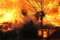 An Immense Roaring House Fire Royalty Free Stock Photo