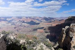 Maricopa Point. The immense size of  canyon and erosional forms  viewed from Maricopa Point , Grand Canyon National Park , Arizona Royalty Free Stock Image
