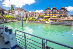 Immensee village from famous boat at Lake Zug on a sunny day, Switzerland Stock Photography