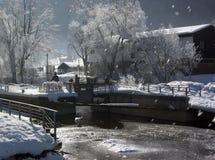 Immenstadt im Winter lizenzfreie stockbilder