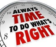 Immer Zeit, zu tun, was rechtes Sprechen-Uhr-Zitat ist Lizenzfreies Stockbild