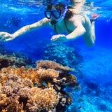 Immergendosi nell'acqua tropicale Fotografia Stock Libera da Diritti