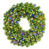 Immergrüner Kranz der Weihnachtsdekoration mit bunten Lichtern und s Lizenzfreies Stockbild