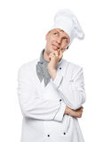 Immersed in a dream cook on a white background Royalty Free Stock Photography