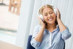 Immersed into music Stock Photo