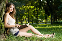 Immersed in reading. Royalty Free Stock Photos