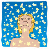 Immersed in the stars (vector). Boy watching, immersed in the stars Stock Images