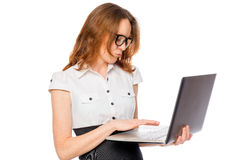 Immersed in the work on the laptop businesswoman Royalty Free Stock Photography