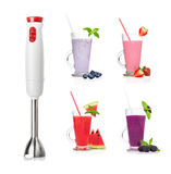 Immersion blender and smoothies isolated Stock Photo