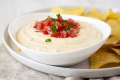Immersion de fromage faite maison dans une cuvette, puces de tortilla jaunes, vue de c?t? Plan rapproch? image stock