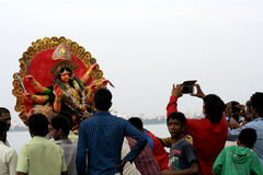 Immersion of  Durga Idol during Durgastami hindu festival Royalty Free Stock Photography
