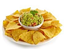 Immersion et nachos de guacamole photographie stock libre de droits