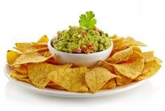 Immersion et nachos de guacamole Image stock