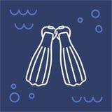 Immersione con bombole delle alette dell'icona Immagine Stock
