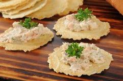 Immersione del salmone affumicato sui cracker gastronomici Fotografia Stock Libera da Diritti