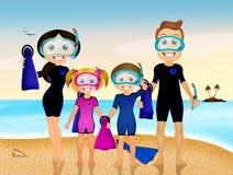 Immersione della famiglia royalty illustrazione gratis
