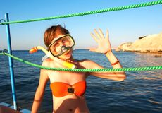 Immersione subacquea allegra Fotografie Stock