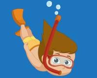 Immersione subacquea del bambino sotto l'oceano Fotografia Stock