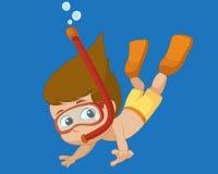 Immersione subacquea del bambino sotto l'oceano Immagini Stock Libere da Diritti