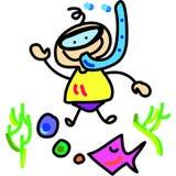 Immersione subacquea del ragazzo del fumetto Fotografie Stock