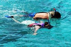 Immersione subacquea delle coppie sul mare libero Immagine Stock Libera da Diritti