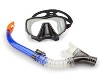 Immersione subacquea di presa d'aria e della maschera e spearfishing. Immagine Stock