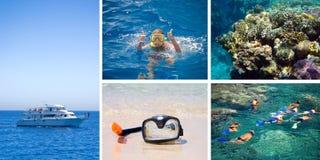 Immersione subacquea. Un collage Fotografia Stock Libera da Diritti