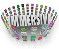 Immersive Word App Software Program Application Icons. Immersive word in 3d letters surrounded by rings of app icons representing programs, software or Royalty Free Stock Image