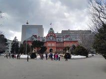 Immeuble de brique rouge Supporo Hokkaido photographie stock libre de droits