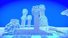 Immeuble de bureaux Futur horizon de ville de concept Concept futuriste de vision d'affaires illustration 3D Image libre de droits