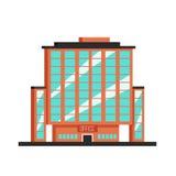 Immeuble de bureaux Illustration plate de vecteur Style de constructivisme illustration libre de droits