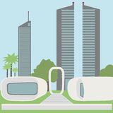 Immeuble de bureaux imprimé par 3D fonctionnel paysage futuriste, vue de la ville moderne illustration libre de droits