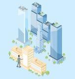 Immeuble de bureaux isométrique plat du vecteur 3d Image libre de droits