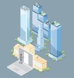Immeuble de bureaux isométrique plat du vecteur 3d Photos libres de droits