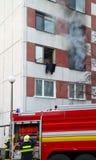 Immeuble juste après l'incendie Image stock