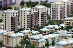 Immeubles de miniatures de construction Photos libres de droits