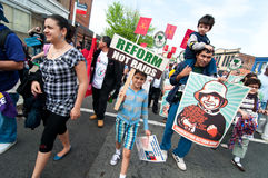 Immigrant Families on the March Royalty Free Stock Images