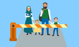 Immigrant people at border concept banner, flat style royalty free illustration