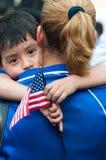 Immigranten Families op Maart stock afbeeldingen