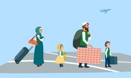 Immigrantenfamilie bij de banner van het luchthavenconcept, vlakke stijl stock illustratie