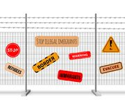 Immigrants Fencing Barrier Realistic Composition. And signs with inscriptions stop warning evacuee border refugees vector illustration stock illustration