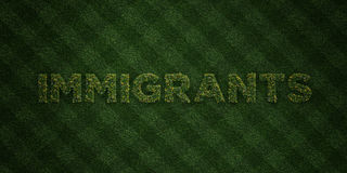 IMMIGRANTS - fresh Grass letters with flowers and dandelions - 3D rendered royalty free stock image. Can be used for online banner ads and direct mailers vector illustration