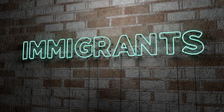 IMMIGRANTS - Glowing Neon Sign on stonework wall - 3D rendered royalty free stock illustration. Can be used for online banner ads and direct mailers stock illustration