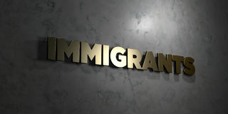 Immigrants - Gold text on black background - 3D rendered royalty free stock picture. This image can be used for an online website banner ad or a print postcard stock illustration
