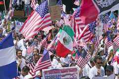 Immigrants participate in march for Immigrants Royalty Free Stock Images