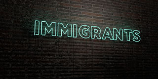 IMMIGRANTS -Realistic Neon Sign on Brick Wall background - 3D rendered royalty free stock image. Can be used for online banner ads and direct mailers stock illustration