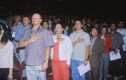 Immigrants Taking Pledge of Allegiance, Los Angeles, California Stock Image
