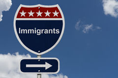 Immigrants this way sign. Blue, Red and White highway sign with words Immigrants with sky background Royalty Free Stock Images