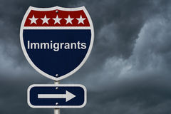 Immigrants this way sign. Blue, Red and White highway sign with words Immigrants with stormy sky background Royalty Free Stock Photos